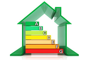Outline of Home Showing Illustration of Energy Efficiency Levels